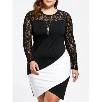 Plus Size Lace Panel Asymmetric Long Sleeve Dress