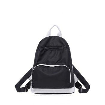 Color Block Zippers Nylon Backpack