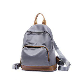 Color Block Zippers Nylon Backpack - GRAY