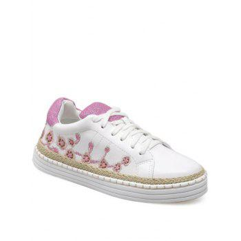 Embroidery Color Block Athletic Shoes