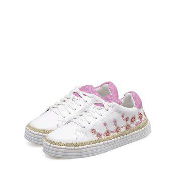Embroidery Color Block Athletic Shoes - PINKISH PURPLE 39