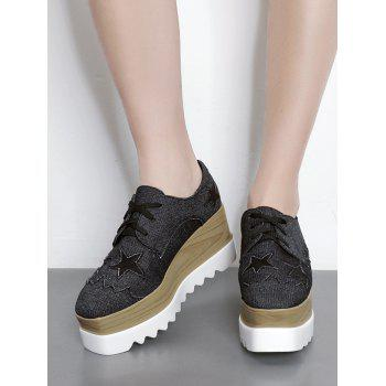 Denim Star Pattern Wedge Shoes - BLACK BLACK