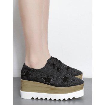 Denim Star Pattern Wedge Shoes - BLACK 38