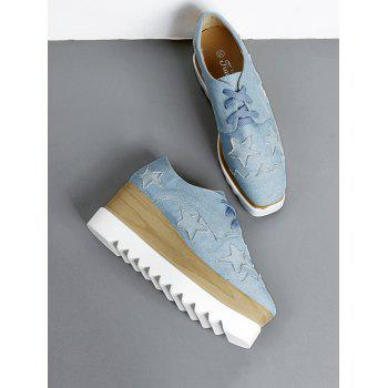 Denim Star Pattern Wedge Shoes - LIGHT BLUE LIGHT BLUE