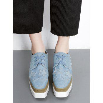 Denim Star Pattern Wedge Shoes - Bleu clair 39