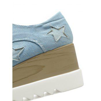Denim Star Pattern Wedge Shoes - Bleu clair 37
