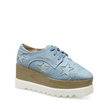 Denim Star Pattern Wedge Shoes