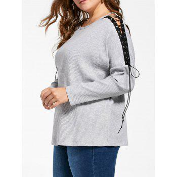 Lace-up Hollow Out Plus Size Ribbed Top