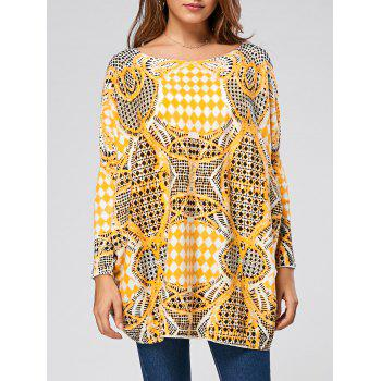 Drop Shoulder Geometric Pattern Pullover Sweater