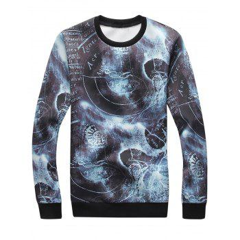 3D Graphic Bleached Print Sweatshirt - COLORMIX L