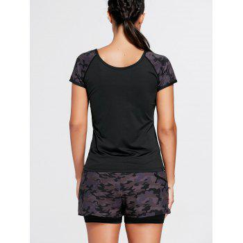 Camo Short Sleeve Sports Raglan Tee - M M
