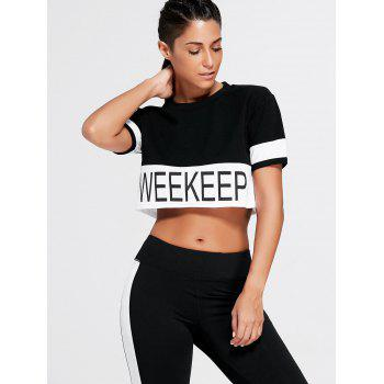 Weekkeep Graphic Cropped Sports T-shirt - BLACK BLACK