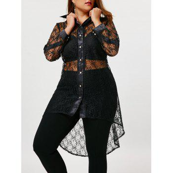Sheer Plus Size High Low Lace Shirt - BLACK XL
