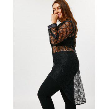 Sheer Plus Size High Low Lace Shirt - BLACK BLACK