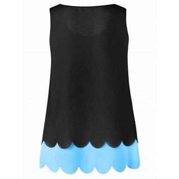Plus Size Hollow Out Scalloped Blouse - AZURE AZURE