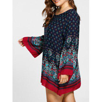 Plus Size Flare Sleeve Mini Bohemian Dress