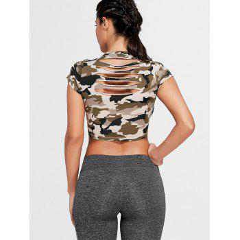 Camouflage Ripped Crew Neck Crop T-shirt - S S