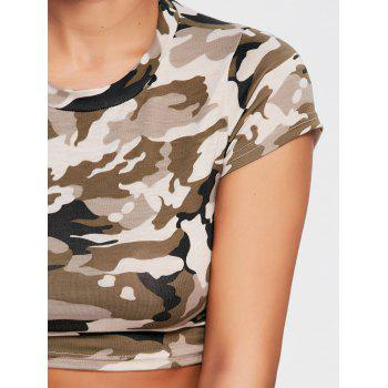 Camouflage Ripped Crew Neck Crop T-shirt - ARMY GREEN CAMOUFLAGE S