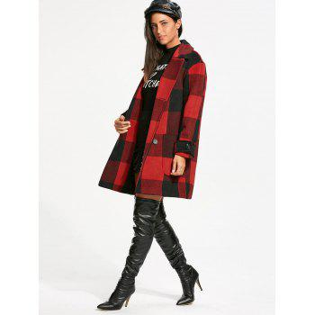 Tartan Double Breasted Pea Coat - RED/BLACK M