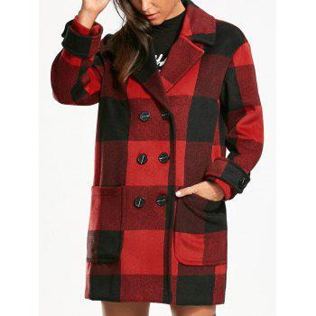 Tartan Double Breasted Pea Coat - RED WITH BLACK 2XL