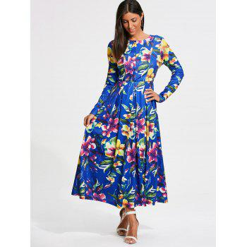 Long Sleeve Full Flower Print Maxi Dress - S S