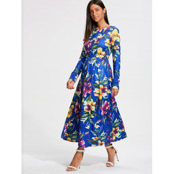 Long Sleeve Full Flower Print Maxi Dress - M M
