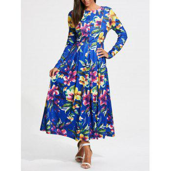 Long Sleeve Full Flower Print Maxi Dress - COLORMIX L