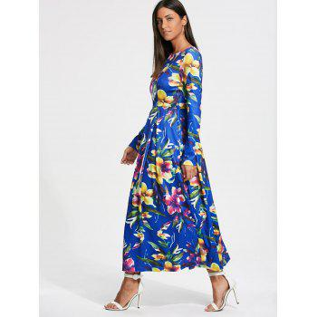 Long Sleeve Full Flower Print Maxi Dress - L L