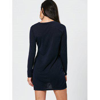 Zipper Side Long Sleeve Shift Sweater Dress - PEARL INDIGO BLUE L