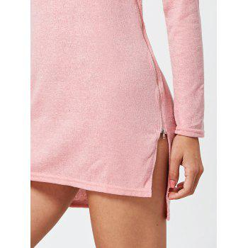 Zipper Side Long Sleeve Shift Sweater Dress - PINK M