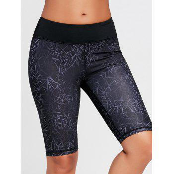 Printed High Waist Tight Shorts - BLACK BLACK