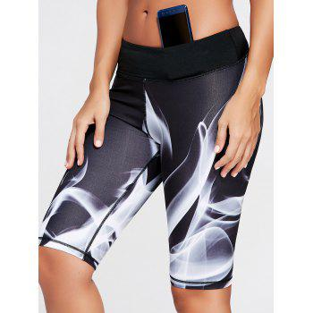 Lights Pattern Bermuda Sports Leggings - BLACK L