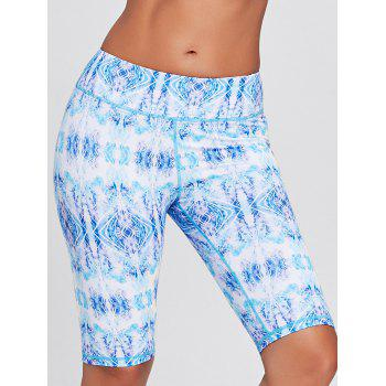 Sports Tribal Printed Bermuda Tight Shorts - BLUE L