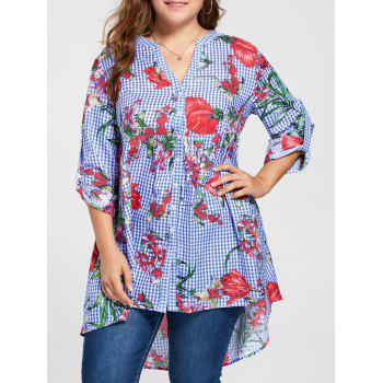 Plus Size Gingham Floral Babydoll Blouse