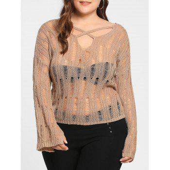 Plus Size Sheer Distressed Cutout Sweater - APRICOT APRICOT