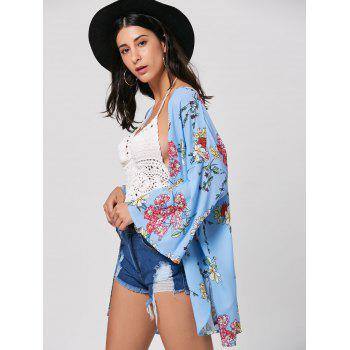 Bell Sleeve Floral Print Tunic Kimono - WINDSOR BLUE WINDSOR BLUE