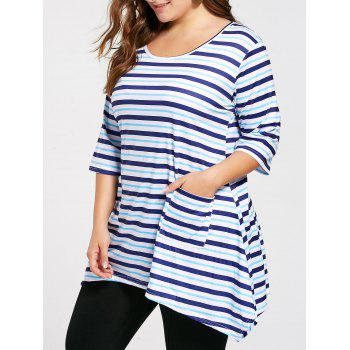 Plus Size Front Pocket Striped Asymmetric Tunic T-shirt