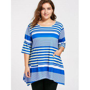 Plus Size Pocket Stripe Long Swing T-shirt - 2XL 2XL