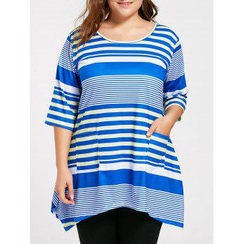Plus Size Pocket Stripe Long Swing T-shirt - BLUE 2XL