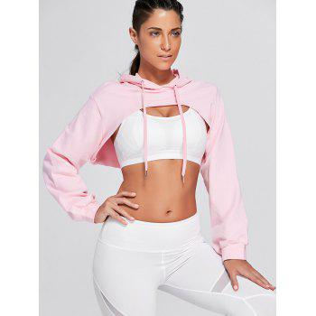 Sports Drop Shoulder Supper Crop Hoodie - PINK S