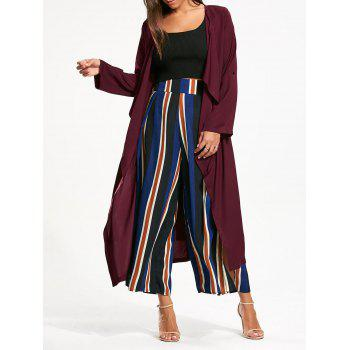 Longline Waterfall Coat with Back Split - BORDEAUX S
