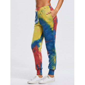 Jogger Pants with Colorful Splash-ink Print - M M