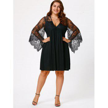 Empire Waist Plus Size Tunic Dress - BLACK BLACK