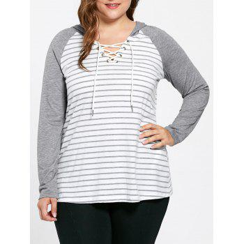 Plus Size Hooded Lace Up Ralgan Sleeve Striped T-shirt