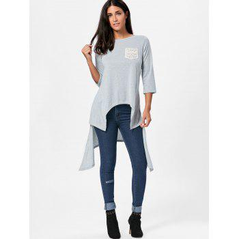 High Low Asymmetric Crochet Pocket T-shirt - S S