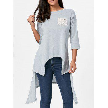 High Low Asymmetric Crochet Pocket T-shirt - GRAY S