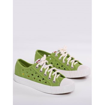 Breathable Hollow Out Athletic Shoes - GREEN 38