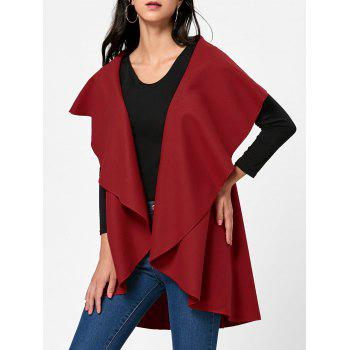 Wool Blend Sleeveless Open Front Cape - RED RED