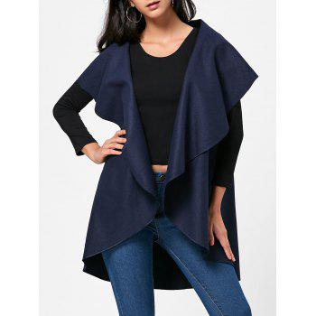 Wool Blend Sleeveless Open Front Cape - PURPLISH BLUE PURPLISH BLUE
