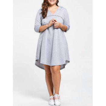 Plus Size Drawstring Neck Hooded Jersey Dress